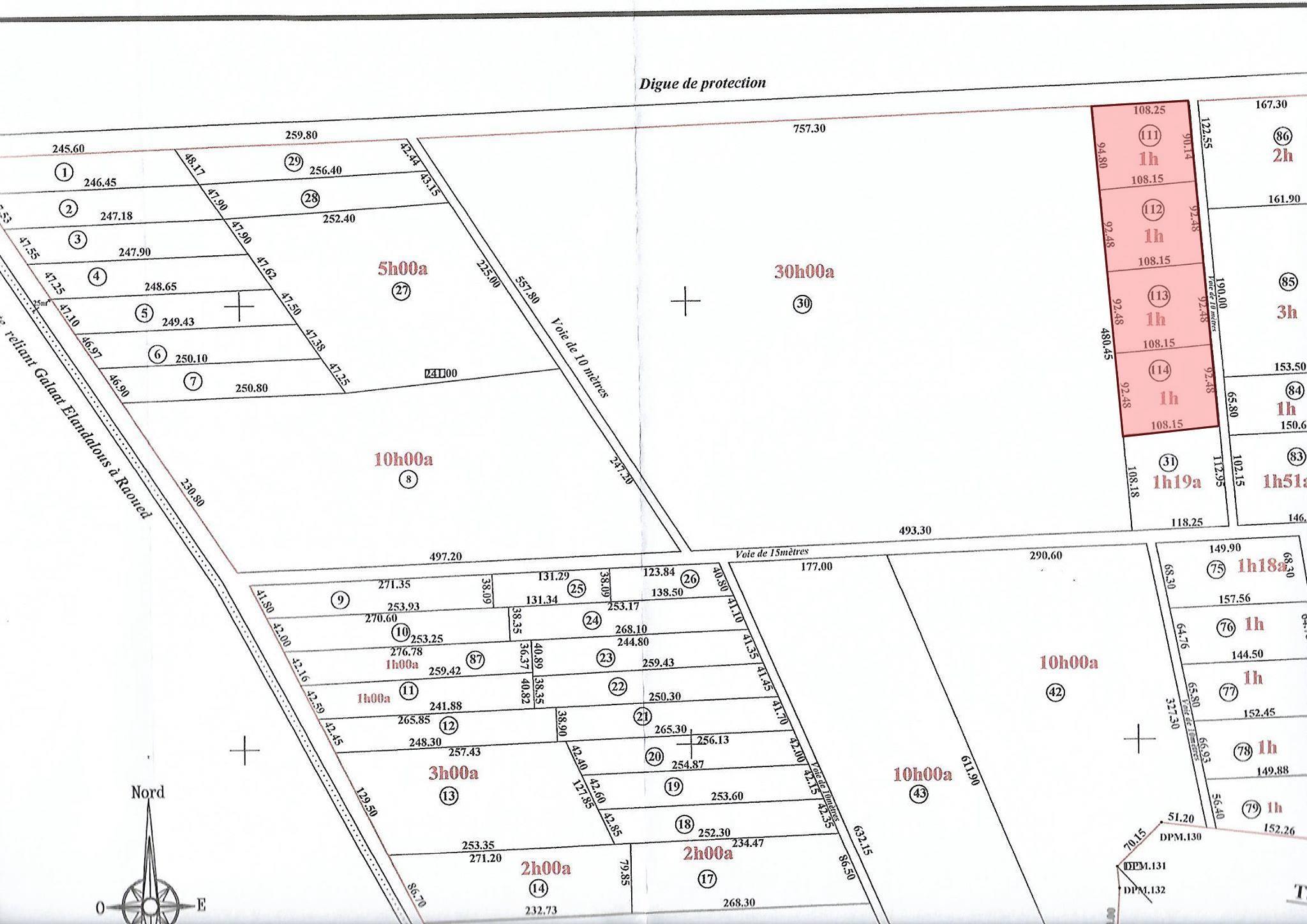 Un Terrain de 5 Hectares est en Vente à Raoued (route de KALAAT EL ANDALOUS)